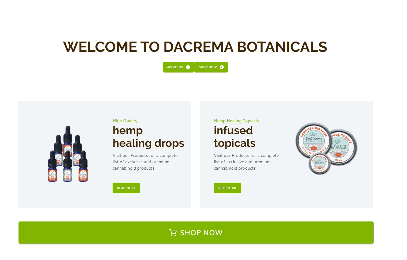 Dacrema Botanicals frontpage photo